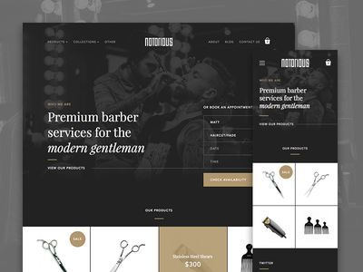 Notorious Barbershop Home ui ux dark type font barbershop shop news products store cart