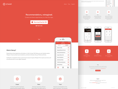 Stamp Website ui ux design app page social site scroll icon red download