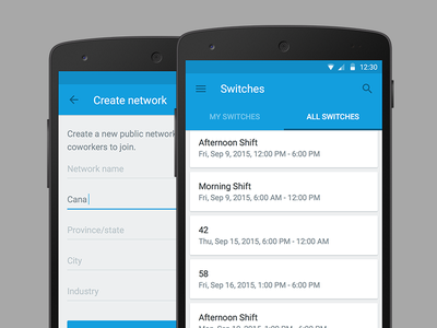 Switch for Android - Switches button form menu search list blue ux material android design app ui