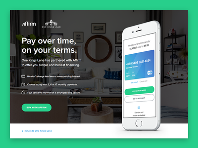 Affirm Virtual Card - Landing Page button payment finance visual ux ui icon mockup iphone marketing landing
