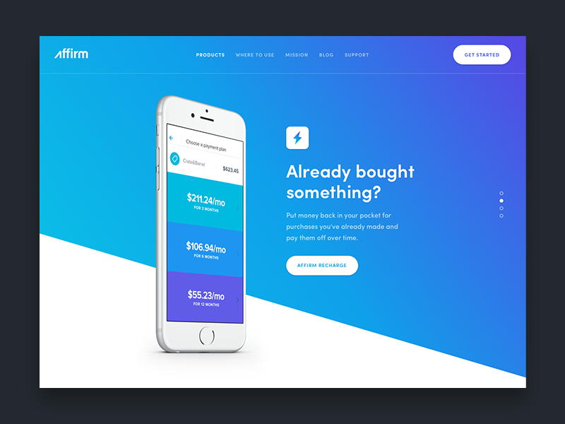 Product page exploration affirm blue icon animation web mobile iphone button ui gradient slider