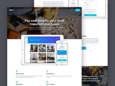 Affirm Marketing Website button finance hero header icon responsive web site marketing design ux ui