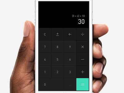 Dark Calculator button icon mobile dark mockup hand ui dailyui ios app calculator