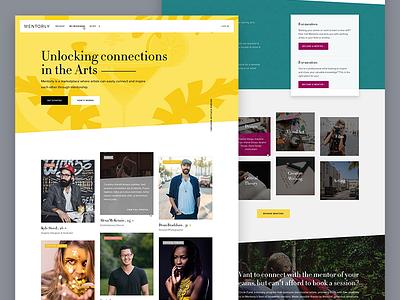 Mentorly - Home ux elegant serif fashion artsy interaction hover diagonal slant app web home