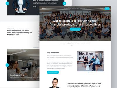Affirm Careers Page typography layout ui web responsive site careers hero design app