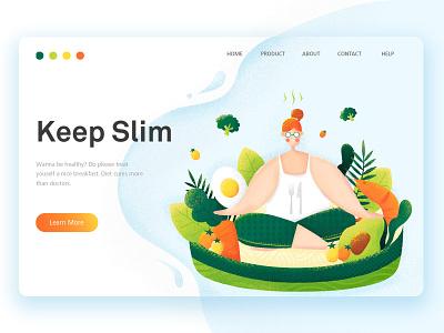 Keep Slim ux girls egg salad vegetables fruits food vector girl web illustration design