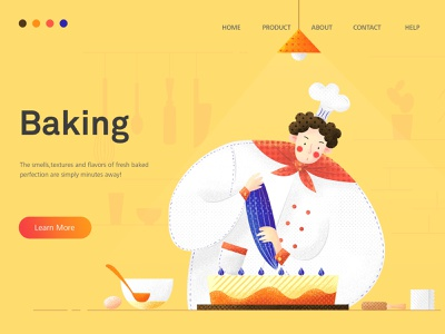 Baking kitchen cake cook baking food work vector web girl illustration design