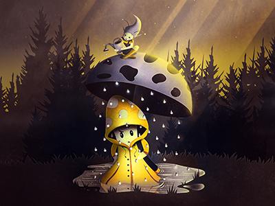 Rain Drops umbrella pixie golden whimsical forest trees raincoat rain magic digital fantasy mushroom