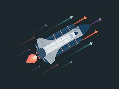 Shoot for the stars stars illustrator spaceship space vector