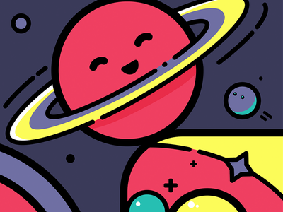Planet bits line art illustration vector planet space