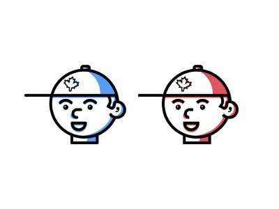 Capped canada hat boy character vector minimal line art