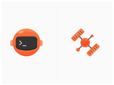 Newman + Interceptor orange vector illustration icons