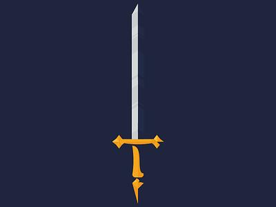 Long Sword royalty fantasy minimal illustration shadow vector sword
