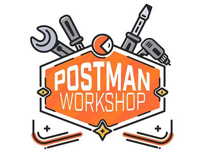 Postman Workshop 🛠 space star vector illustration wrench screwdriver drill orange retro spaceman postman tools