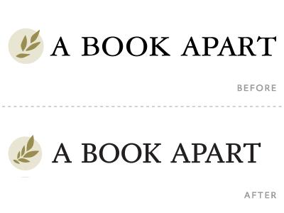 A Book Apart logo redux, in progress beige white black