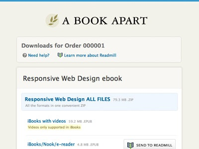 New A Book Apart ebook download in progress