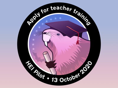 Apply for teacher training - Mission patch for the HEI Pilot beaver illustration sticker patch