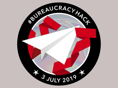 #BureaucracyHack Sticker paper plane red tape patch sticker