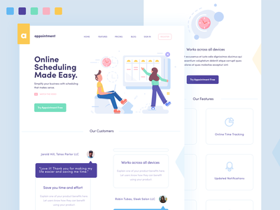 Appointment Home Page calendar clocks features blog testimonials customers dashboard shedule splash hero illustration white design homepage