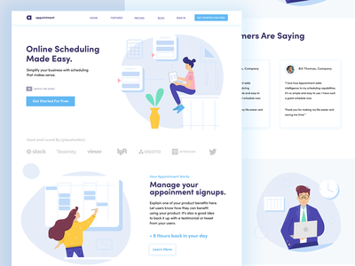 Scheduling Home Page white ux ui illustration simple timing blog webdesign homepage business time calendar beauty salon appointment schedule illustrations
