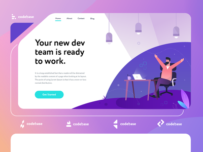 Tech Branding Client hero banner simple code office designer laptop people tech illustration gradient webdesign splashpage