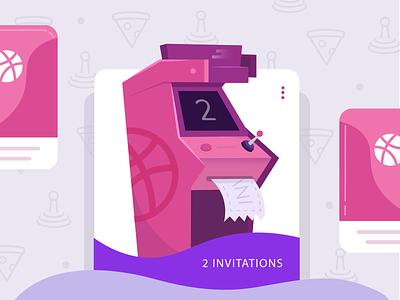 2 Dribbble Invitations ui videogame icons watermark cards uxui ux mobile arcade machine arcade game dribbble invites invitation tickets arcade