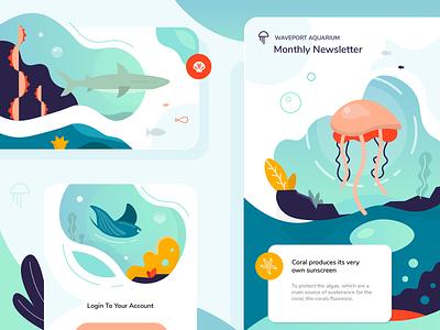 Aquarium Branding Flow white simple branding mobile jellyfish landingpage dashboad email ux ui shark sea aquarium ocean