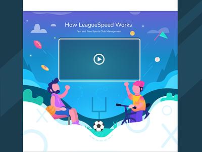 LeagueSpeed Video Page management league illustration responsive landing football basketball biking sports gradient vector landing page uiux ui