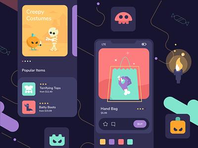 Halloween Dark Theme app design treat candy pumpkin skeleton ecommerce flat design game gamification dark theme dark halloween shop mobile dashboard ux ui