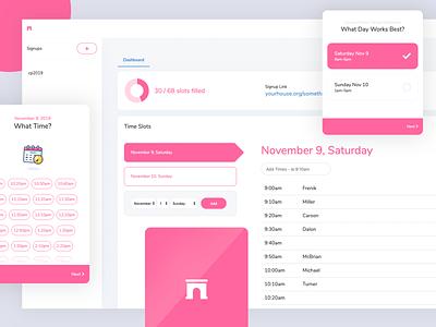 Time Slot Application branding logo design modern simple minimal calendar responsive mobile schedule time pink white design ux ui dashboard app