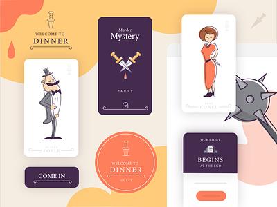 Mystery Dinner Pack place cards dinner app ui mobile card print branding horror mansion murder game halloween vector mystery