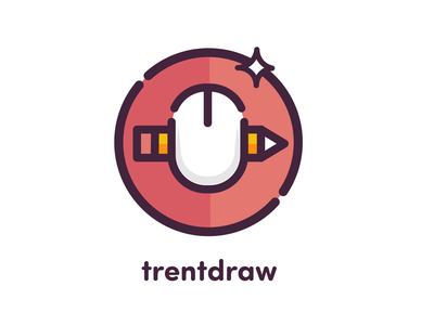 TrentDraw Youtube Branding youtube channel youtube illustrator round icon vector pencil drawing pencil mouse logo design logo