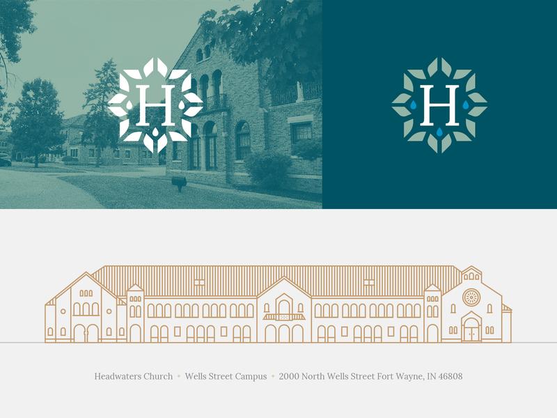 Headwaters Bits architecture building seal church logo monolinear illustration church design