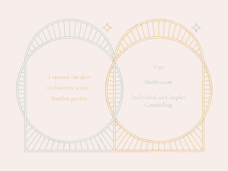 Garden Gates peace illustration counseling brand monoline meditation yoga sacred garden