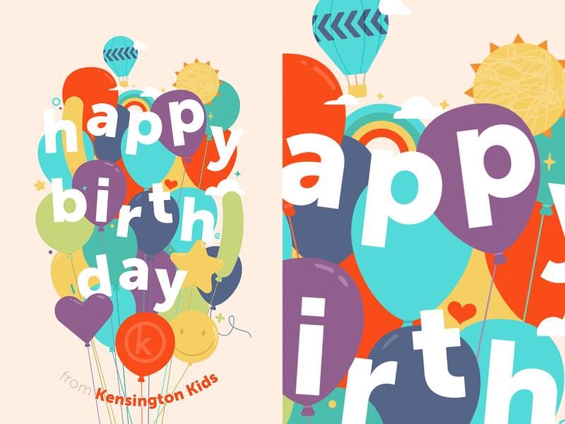 Happy Birthday! colorful birthday illustration balloons kids