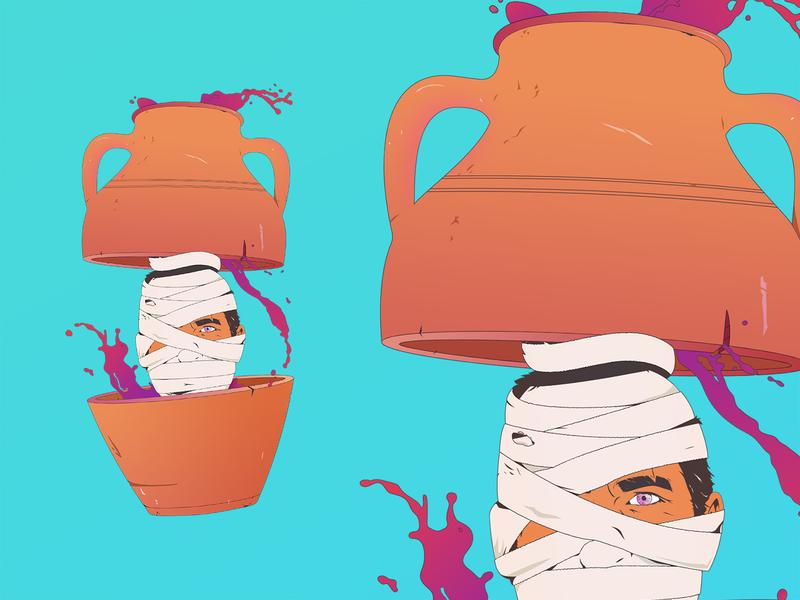 ⚱️ Funeral Urn ⚱️ gradients adobe photoshop adobe illustrator wine face bandage pot vase urn digital art vector mummy illustration