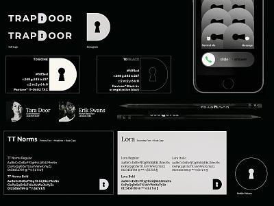 TrapDoor Elements wallpaper pencils black and white dark social media tt norms lora fonts iphone logo branding