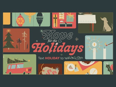 Hope for the Holidays presents tree holiday dog gifts textures christmas illustration church design