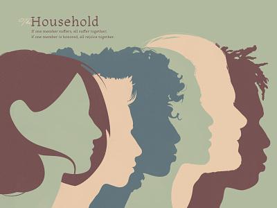 The Household of Faith church profile faces people bible galatians 1 corinthians illustration church design