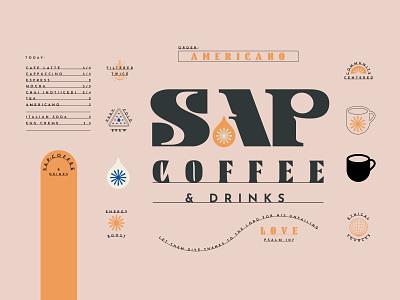SapStuff™ type badge logo design energy community menu tea drinks love psalm scripture star drop coffee branding logo