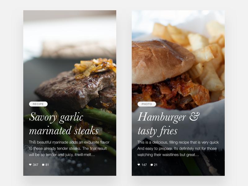 A food visual book - Dark version ux ui typography type minimal light lettering ios flat design app