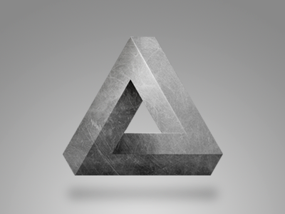 Triangle Icon icon triangle gray photoshop impossible impossibile triangolo ios iphone shadow light metal