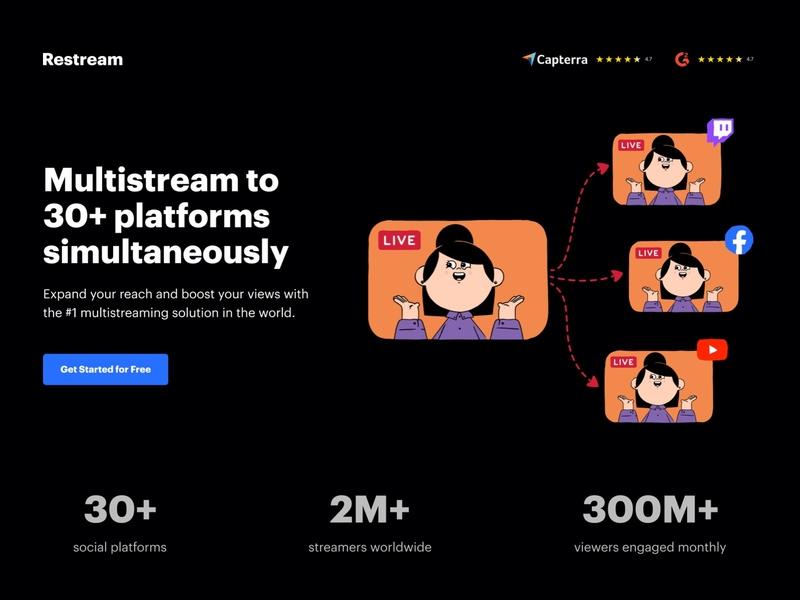 Restream.io ui lead generation ux software website design minimal web design landing page