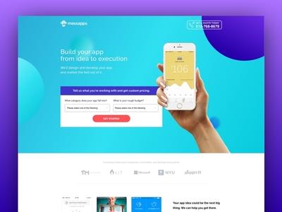 Messapps Landing Page app builder mobile apps website design app landing page