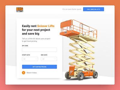 BigRentz ux ui ux construction page website design testimonials lead generation landing page graphic design