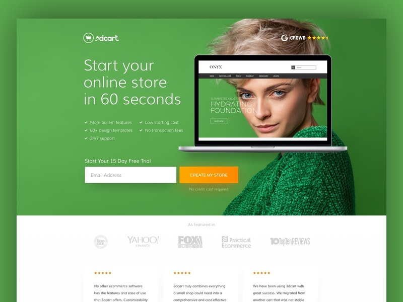 3D Cart testimonials ui ux website design website minimal web design landing page