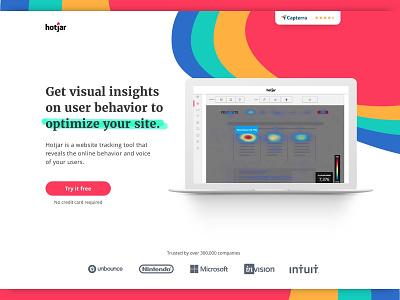Hotjar software website minimal website design web design landing page heatmap hotjar