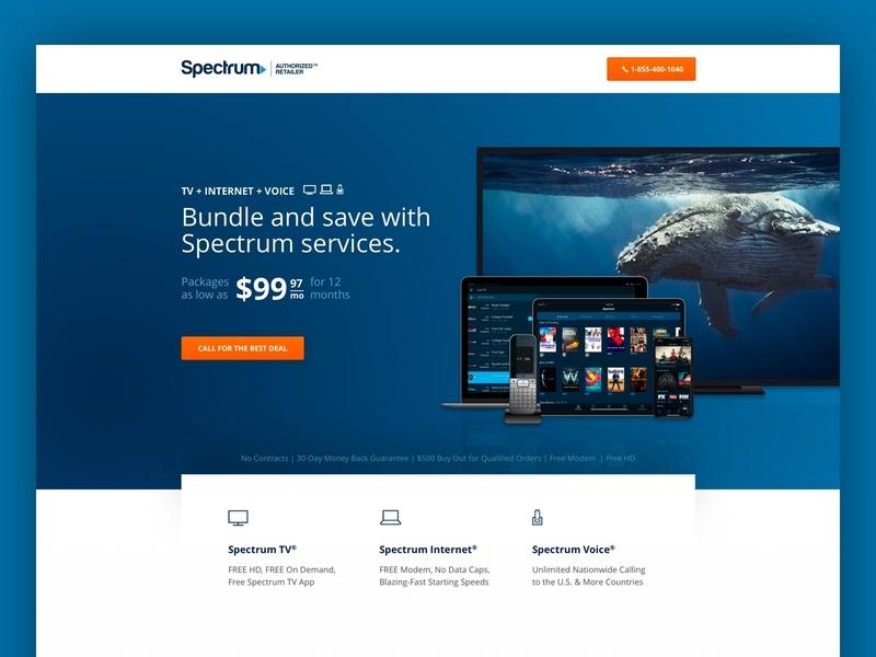 Spectrum ui ux website minimal graphic design website design web design landing page