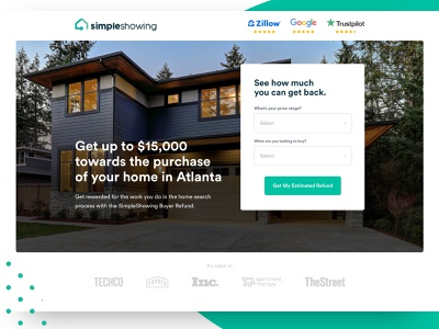 SimpleShowing lead gen form testimonial architecture real estate minimal web design landing page