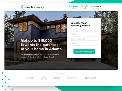 SimpleShowing lead gen form testimonial architecture real estate minimal web design landing page
